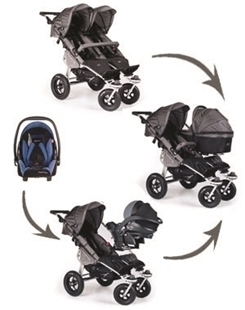 TFK Twinner Twist Duo Pram Car Seat Carry Cot